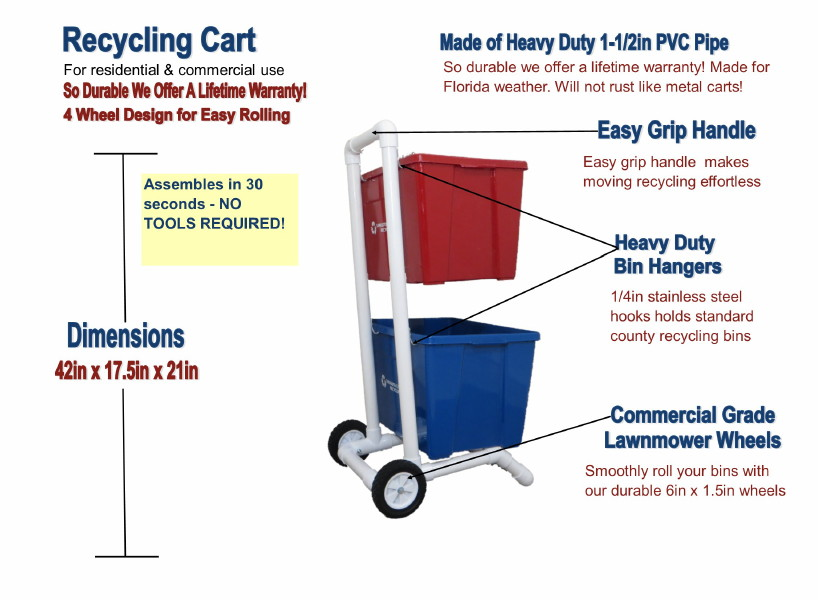 Recycling cart with 4 wheels for easy rolling